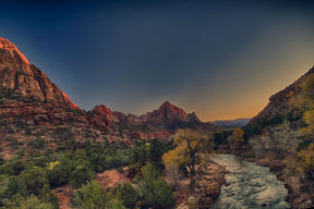 River At Sunset Zion Park